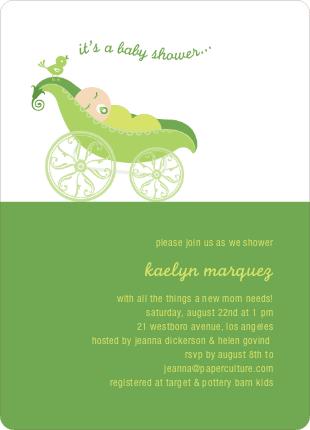 pea pod baby shower invitation